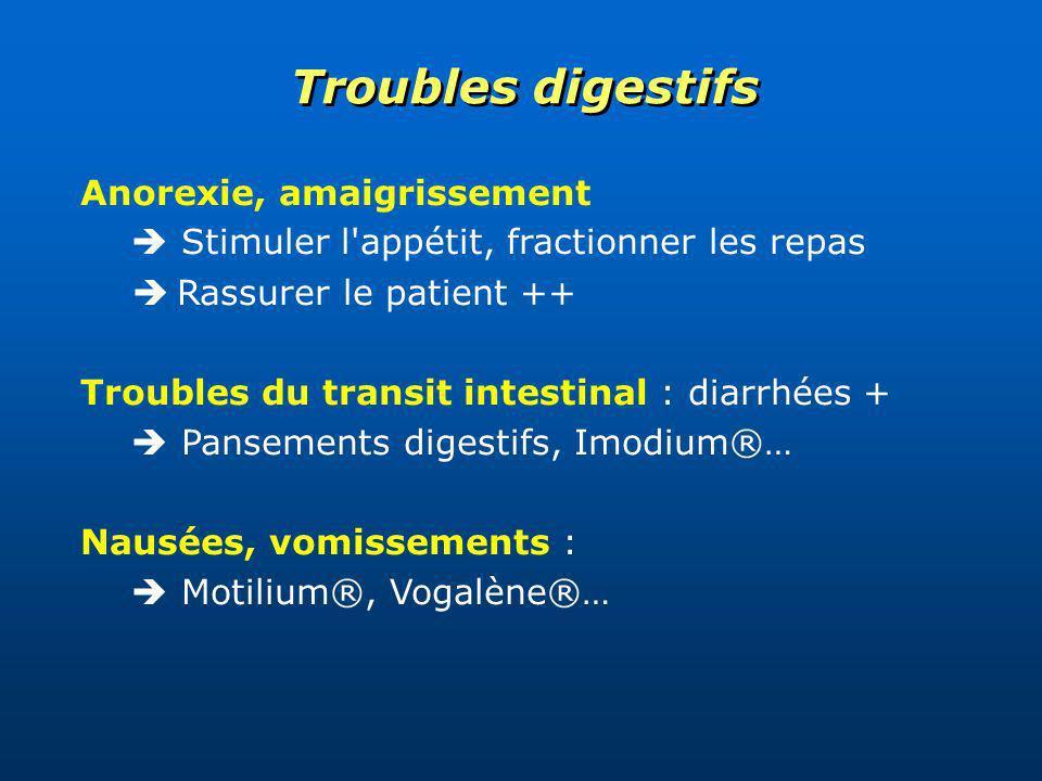 Anorexie, amaigrissement Stimuler l'appétit, fractionner les repas Rassurer le patient ++ Troubles du transit intestinal : diarrhées + Pansements dige