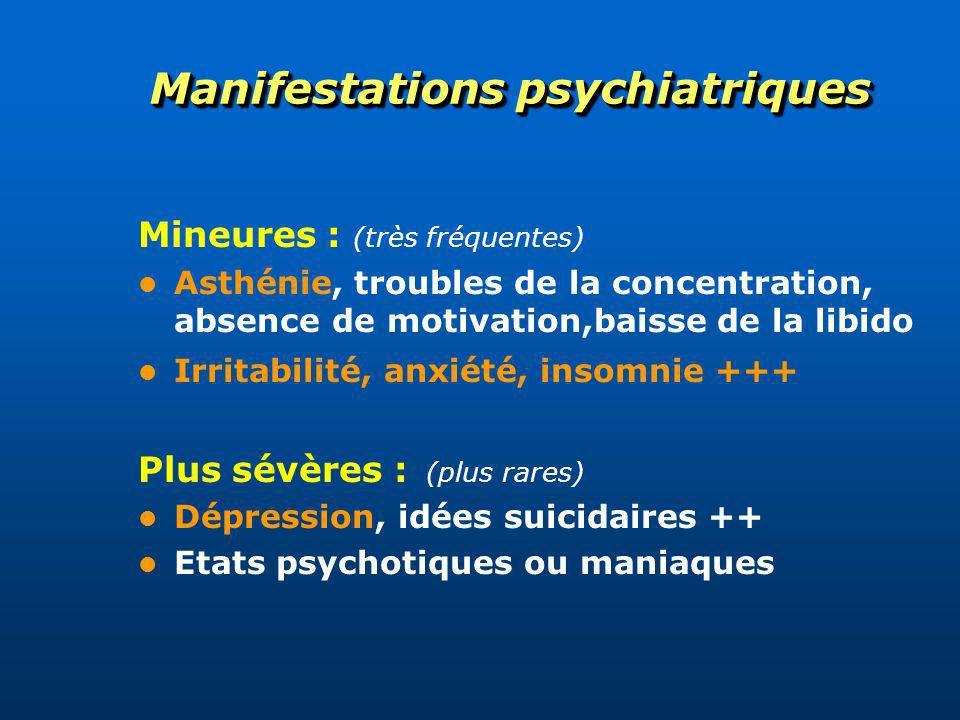 Manifestations psychiatriques Mineures : (très fréquentes) Asthénie, troubles de la concentration, absence de motivation,baisse de la libido Irritabil