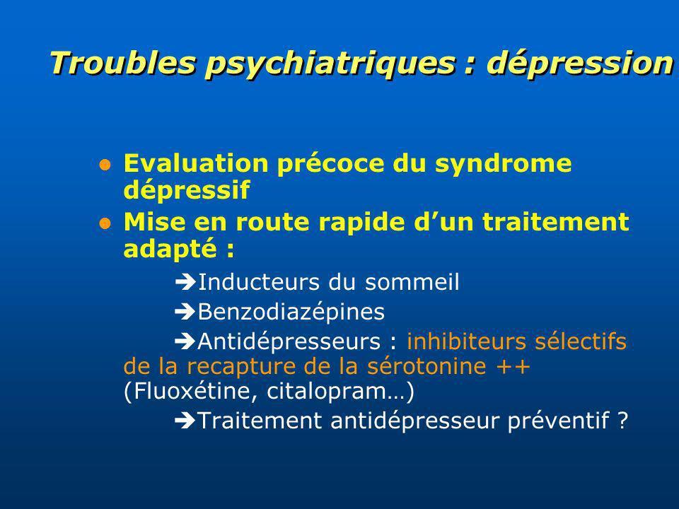 Troubles psychiatriques : dépression Evaluation précoce du syndrome dépressif Mise en route rapide dun traitement adapté : Inducteurs du sommeil Benzo