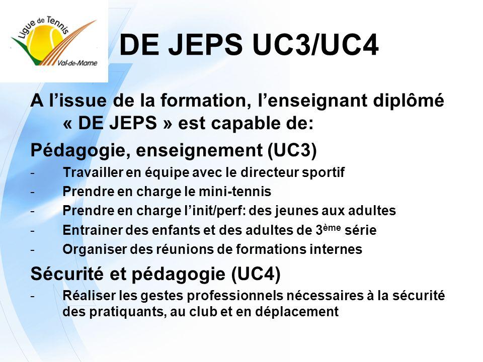 A lissue de la formation, lenseignant diplômé « DE JEPS » est capable de: Développement du club (UC1) -Dêtre autonome face aux commandes des dirigeants -Faire une analyse interne du club et dégager des objectifs damélioration Développement du club (UC2) s -Proposer un projet dactions au directeur sportif et aux dirigeants -Mettre en œuvre un projet et lanalyser -Rendre compte de ses activités aux dirigeants DE JEPS UC1/UC2