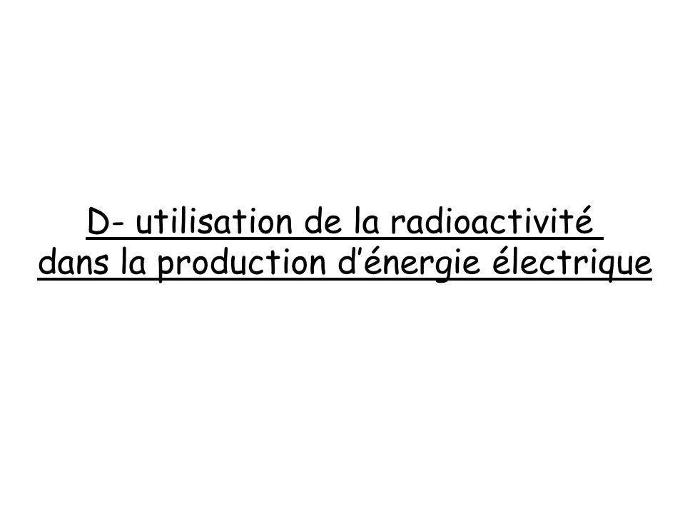 D- utilisation de la radioactivité dans la production dénergie électrique