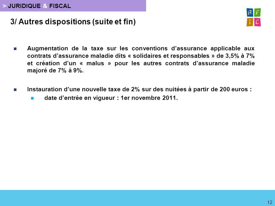 > JURIDIQUE & FISCAL 3/ Autres dispositions (suite et fin) Augmentation de la taxe sur les conventions dassurance applicable aux contrats dassurance m