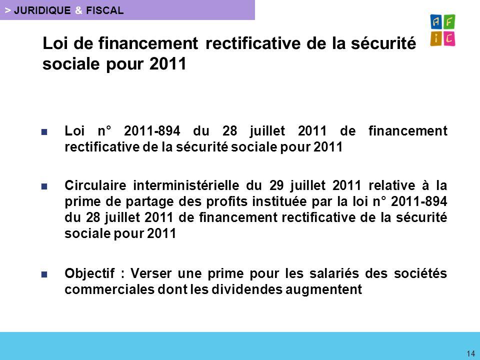 Loi de financement rectificative de la sécurité sociale pour 2011 Loi n° 2011-894 du 28 juillet 2011 de financement rectificative de la sécurité socia