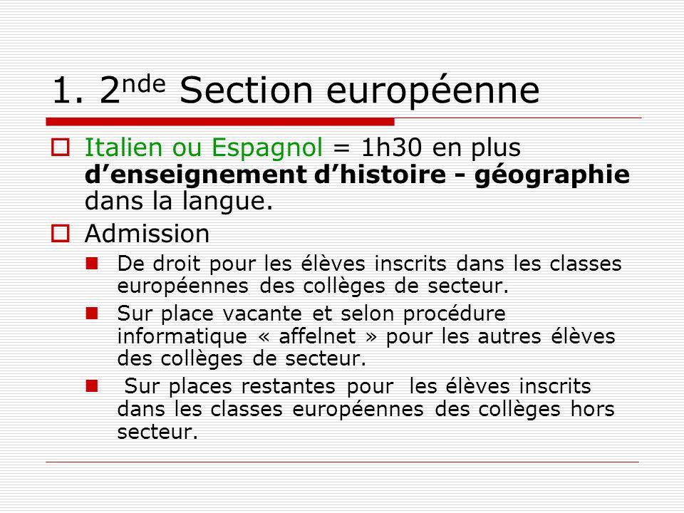 1. 2 nde Section européenne Italien ou Espagnol = 1h30 en plus denseignement dhistoire - géographie dans la langue. Admission De droit pour les élèves