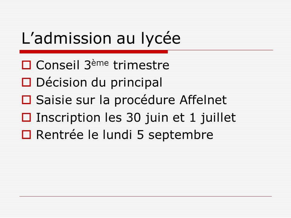 Ladmission au lycée Conseil 3 ème trimestre Décision du principal Saisie sur la procédure Affelnet Inscription les 30 juin et 1 juillet Rentrée le lun