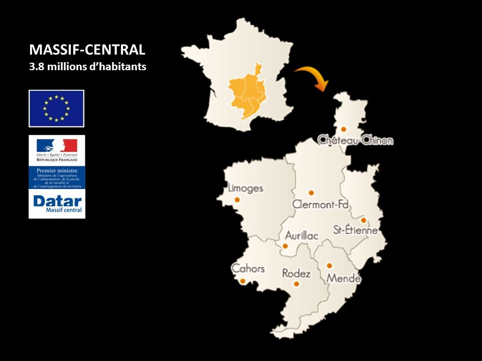 MASSIF-CENTRAL 3.8 millions dhabitants