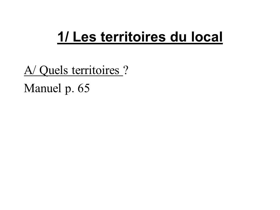 1/ Les territoires du local A/ Quels territoires ? Manuel p. 65