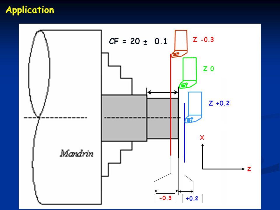 CF = 20 ± 0.1 Z +0.2 Z -0.3 +0.2 -0.3 Z 0 X Z Application