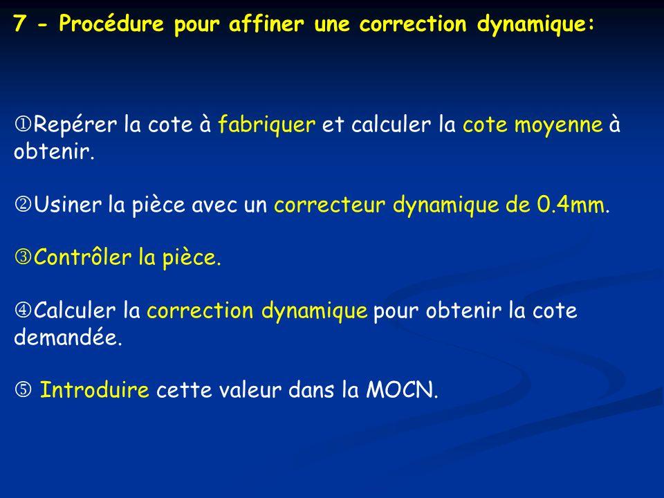 7 - Procédure pour affiner une correction dynamique: Repérer la cote à fabriquer et calculer la cote moyenne à obtenir. Usiner la pièce avec un correc