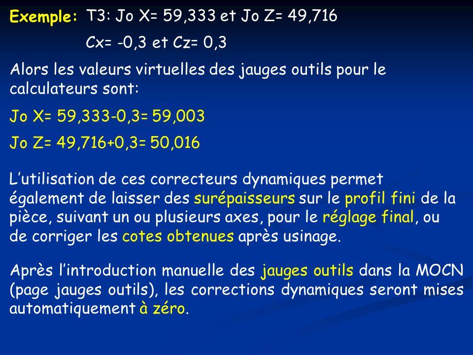 Exemple: T3: Jo X= 59,333 et Jo Z= 49,716 Cx= -0,3 et Cz= 0,3 Alors les valeurs virtuelles des jauges outils pour le calculateurs sont: Jo X= 59,333-0