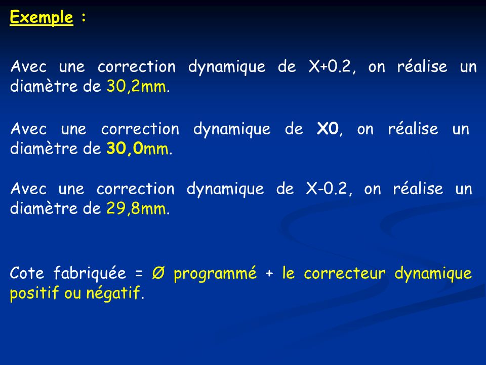Exemple : Avec une correction dynamique de X+0.2, on réalise un diamètre de 30,2mm. Avec une correction dynamique de X0, on réalise un diamètre de 30,