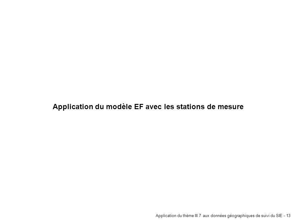 Application du thème III.7 aux données géographiques de suivi du SIE - 13 Application du modèle EF avec les stations de mesure