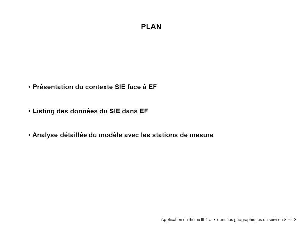 Application du thème III.7 aux données géographiques de suivi du SIE - 2 PLAN Présentation du contexte SIE face à EF Listing des données du SIE dans E
