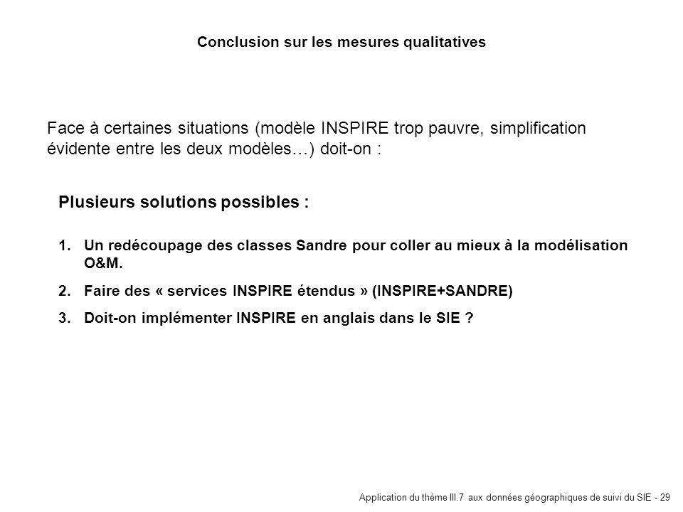 Application du thème III.7 aux données géographiques de suivi du SIE - 29 Conclusion sur les mesures qualitatives 1.Un redécoupage des classes Sandre