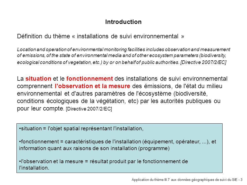 Application du thème III.7 aux données géographiques de suivi du SIE - 3 Définition du thème « installations de suivi environnemental » Location and o