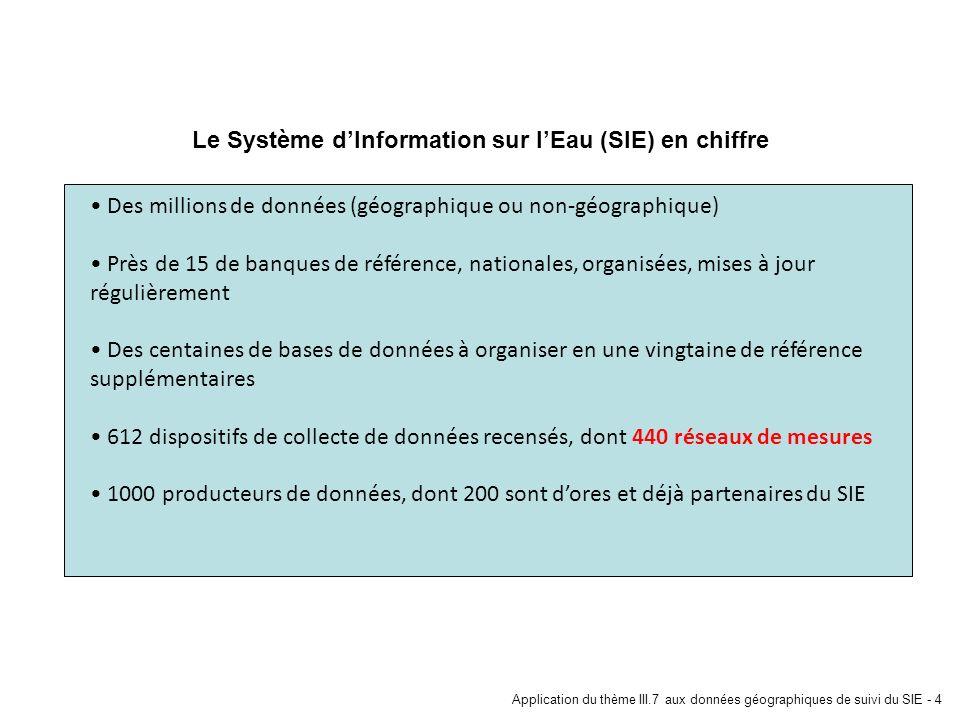 Application du thème III.7 aux données géographiques de suivi du SIE - 4 Le Système dInformation sur lEau (SIE) en chiffre Des millions de données (gé