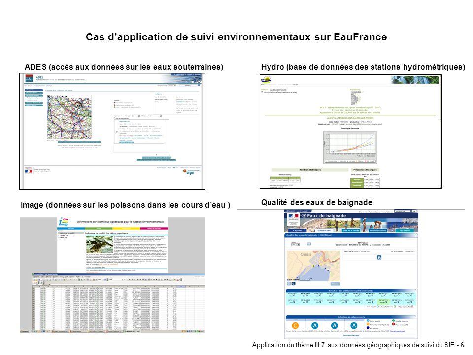 Application du thème III.7 aux données géographiques de suivi du SIE - 6 Cas dapplication de suivi environnementaux sur EauFrance ADES (accès aux donn