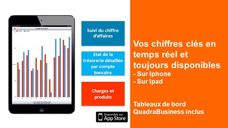 Vos chiffres clés en temps réel et toujours disponibles - Sur Iphone - Sur Ipad Tableaux de bord QuadraBusiness inclus Suivi du chiffre daffaires Etat