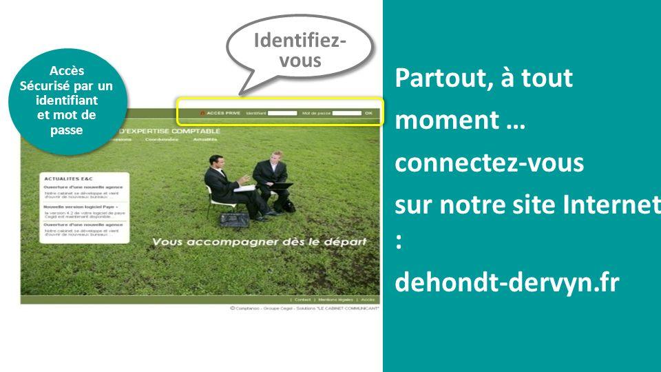Partout, à tout moment … connectez-vous sur notre site Internet : dehondt-dervyn.fr Identifiez- vous Accès Sécurisé par un identifiant et mot de passe