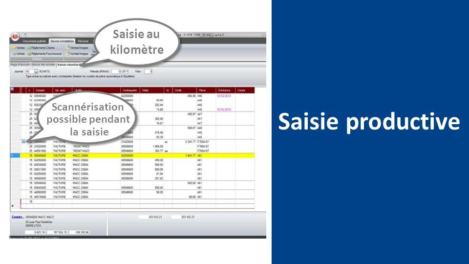 Saisie productive Saisie au kilomètre Scannérisation possible pendant la saisie