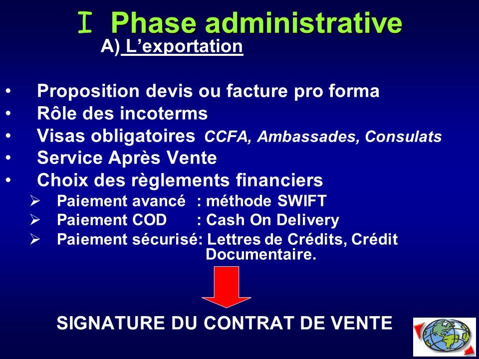 Phase administrative I Phase administrative A) Lexportation Proposition devis ou facture pro forma Rôle des incoterms Visas obligatoires CCFA, Ambassa