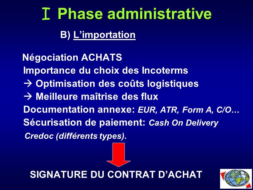 B) Limportation Négociation ACHATS Importance du choix des Incoterms Optimisation des coûts logistiques Meilleure maîtrise des flux Documentation anne