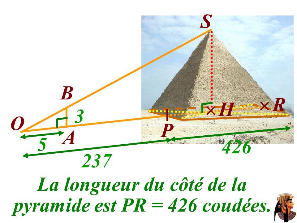 La longueur du côté de la B S O A P H 3 5 237 426 pyramide est PR = 426 coudées. R