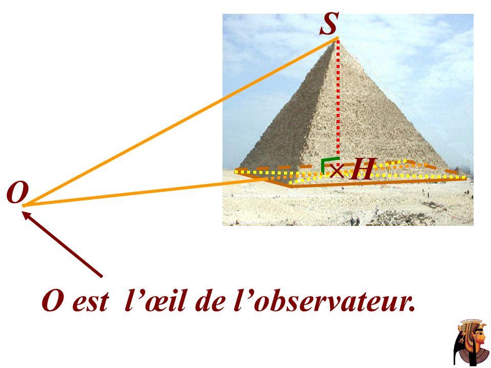 La hauteur du bâton est 3 B S O A H AB = 3 coudées.