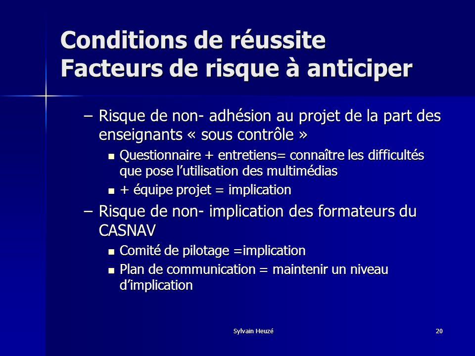 Sylvain Heuzé20 –Risque de non- adhésion au projet de la part des enseignants « sous contrôle » Questionnaire + entretiens= connaître les difficultés