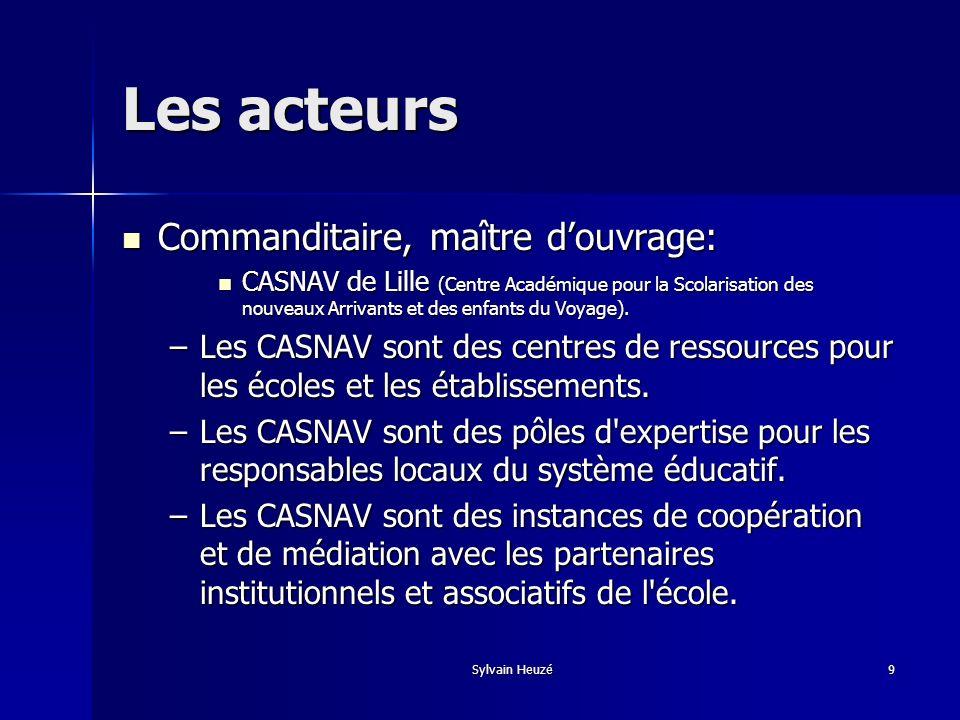 Sylvain Heuzé9 Les acteurs Commanditaire, maître douvrage: Commanditaire, maître douvrage: CASNAV de Lille (Centre Académique pour la Scolarisation de