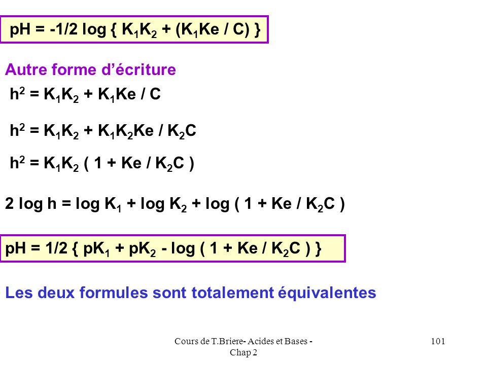 Cours de T.Briere- Acides et Bases - Chap 2 100 [A 2- ] + [OH - ]= [AH 2 ] K 1 = [AH - ] [H 3 O + ] / [AH 2 ] K 2 = [A 2- ] [H 3 O + ] / [AH - ] [AH 2