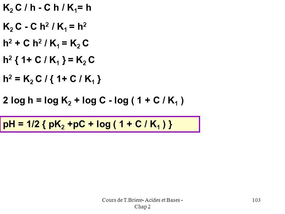 Cours de T.Briere- Acides et Bases - Chap 2 102 2) Si pK 1 + pK 2 < 14 : la solution est trop acide pour pouvoir négliger [H 3 O + ] E.N : [OH - ] + [