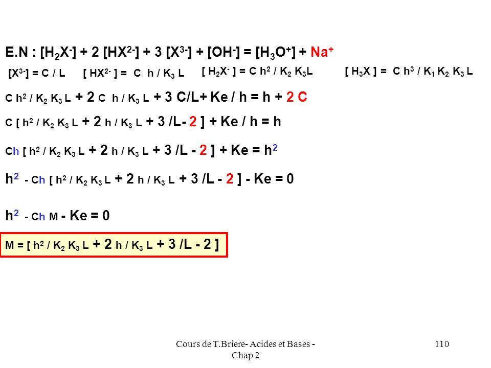Cours de T.Briere- Acides et Bases - Chap 2 109 E.N : [H 2 X - ] + 2 [HX 2- ] + 3 [X 3- ] + [OH - ] = [H 3 O + ] + Na + Ampholyte H 2 X - [ HX 2- ] =