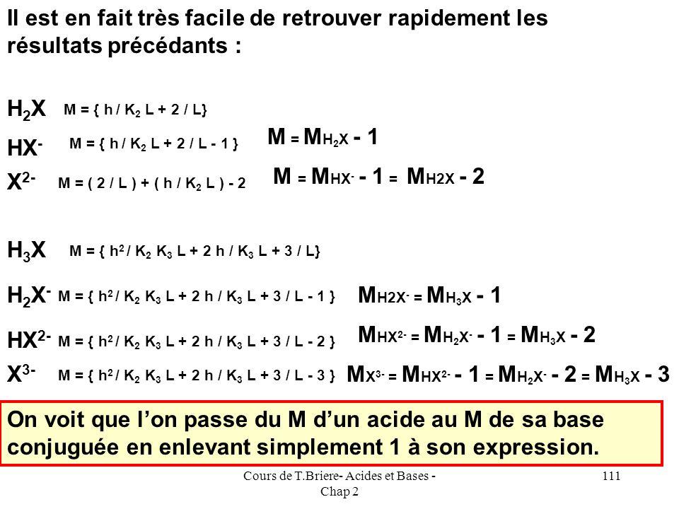 Cours de T.Briere- Acides et Bases - Chap 2 110 E.N : [H 2 X - ] + 2 [HX 2- ] + 3 [X 3- ] + [OH - ] = [H 3 O + ] + Na + [ HX 2- ] = C h / K 3 L [ H 3