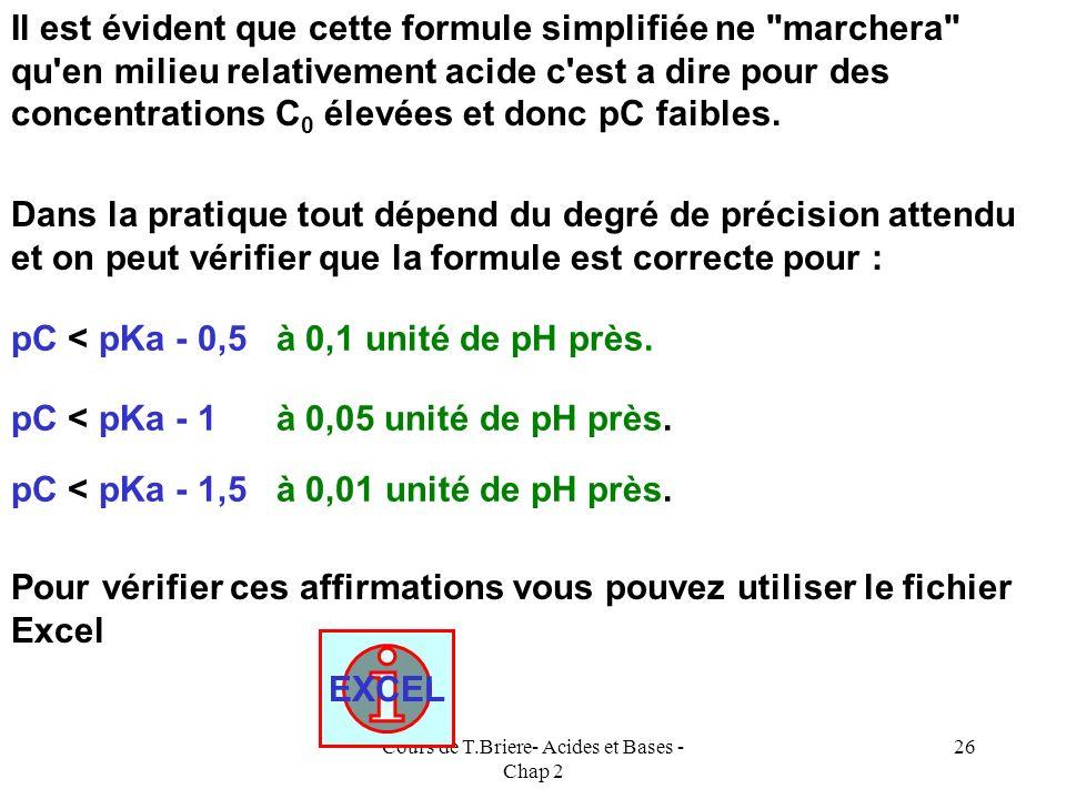Cours de T.Briere- Acides et Bases - Chap 2 25 Ka = [H 3 O + ] 2 / C 0 [H 3 O + ] 2 = Ka C 0 2 log [H 3 O + ] = log Ka - log C 0 -2 pH = log Ka - log