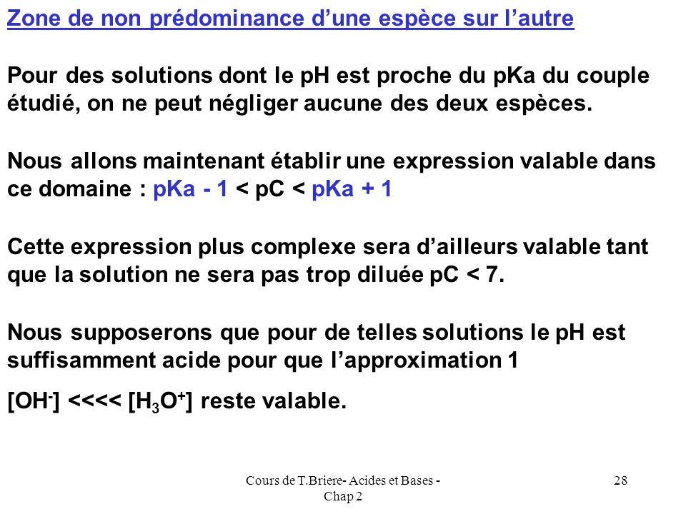 Cours de T.Briere- Acides et Bases - Chap 2 27 [A - ] = [H 3 O + ]Approximation 1 [OH - ] <<<< [H 3 O + ] Approximation 3 : [AH] <<<< [A - ] [A - ] =