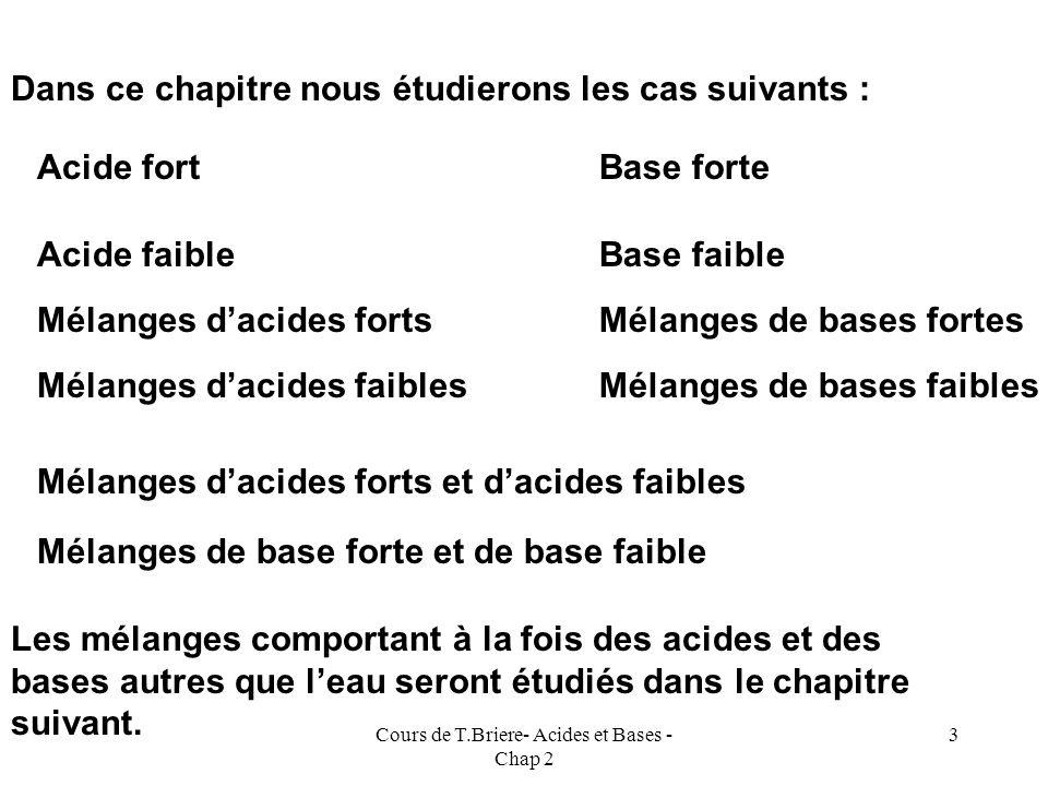 Cours de T.Briere- Acides et Bases - Chap 2 2 Nous allons dans ce chapitre voir comment il est possible de calculer à priori le pH dune solution aqueu