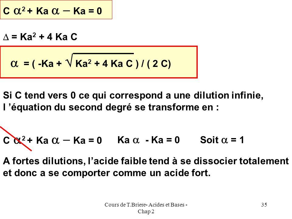 Cours de T.Briere- Acides et Bases - Chap 2 34 AH aq + H 2 O = A - aq + H 3 O + aq E. IC00 Excès C ( 1 - C C E. F Ka = [A - ][H 3 O + ] [AH] = C 2 2 /