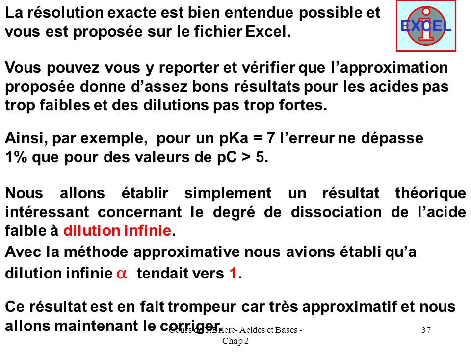 Cours de T.Briere- Acides et Bases - Chap 2 36 Remarque : Le calcul de que nous venons de mener nest en fait quapproximatif. Nous avons en effet négli