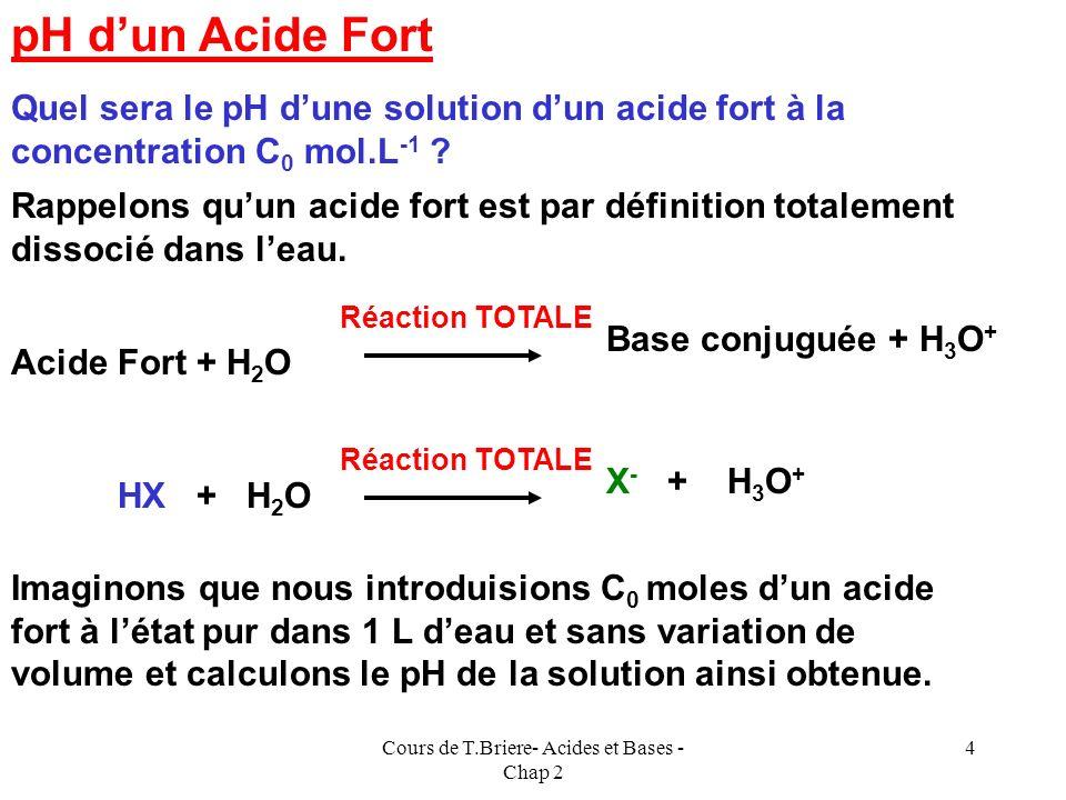Cours de T.Briere- Acides et Bases - Chap 2 3 Dans ce chapitre nous étudierons les cas suivants : Acide fort Acide faible Mélanges dacides forts Mélan