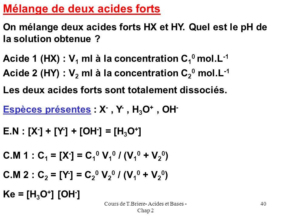 Cours de T.Briere- Acides et Bases - Chap 2 39 Applications numériques : acide acétique CH 3 COOH pka = 4,75Ka = 10 -4,75 = 0,994 pka = 9,25 Ion ammon