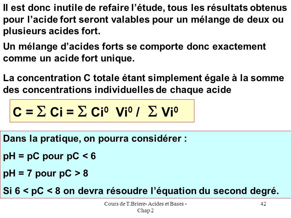 Cours de T.Briere- Acides et Bases - Chap 2 41 E.N : [X - ] + [Y - ] + [OH - ] = [H 3 O + ] E.N : C 1 + C 2 + ( Ke / [H 3 O + ] ) = [H 3 O + ] C 1 + C