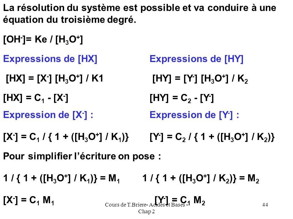 Cours de T.Briere- Acides et Bases - Chap 2 43 Mélange de deux acides faibles On mélange deux acides faibles HX et HY. Quel est le pH de la solution o