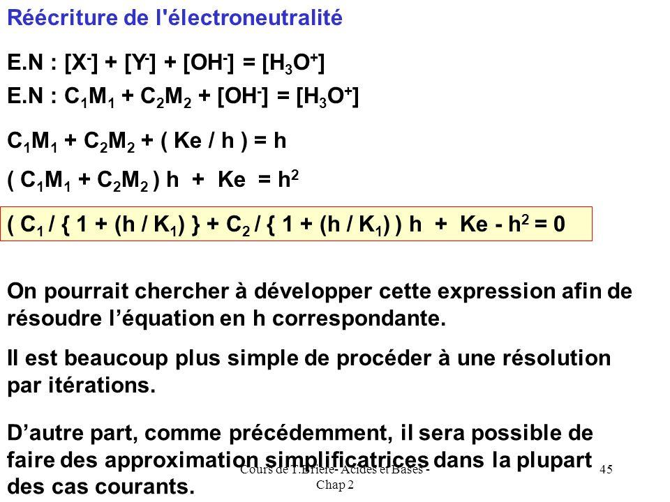 Cours de T.Briere- Acides et Bases - Chap 2 44 La résolution du système est possible et va conduire à une équation du troisième degré. [OH - ]= Ke / [