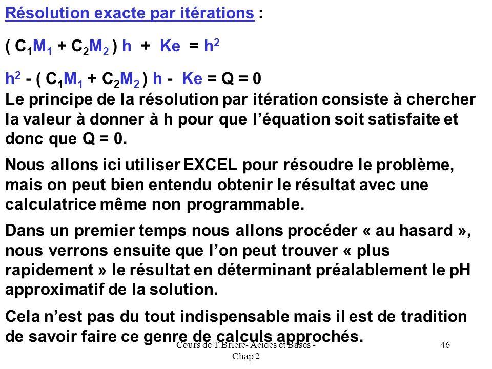 Cours de T.Briere- Acides et Bases - Chap 2 45 Réécriture de l'électroneutralité E.N : [X - ] + [Y - ] + [OH - ] = [H 3 O + ] E.N : C 1 M 1 + C 2 M 2
