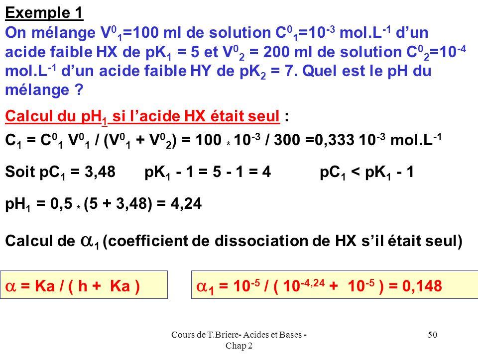 Cours de T.Briere- Acides et Bases - Chap 2 49 Une hypothèse simple consiste à considérer que cest lacide « le plus fort », qui va fixer le pH du méla