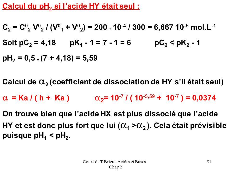 Cours de T.Briere- Acides et Bases - Chap 2 50 Exemple 1 On mélange V 0 1 =100 ml de solution C 0 1 =10 -3 mol.L -1 dun acide faible HX de pK 1 = 5 et
