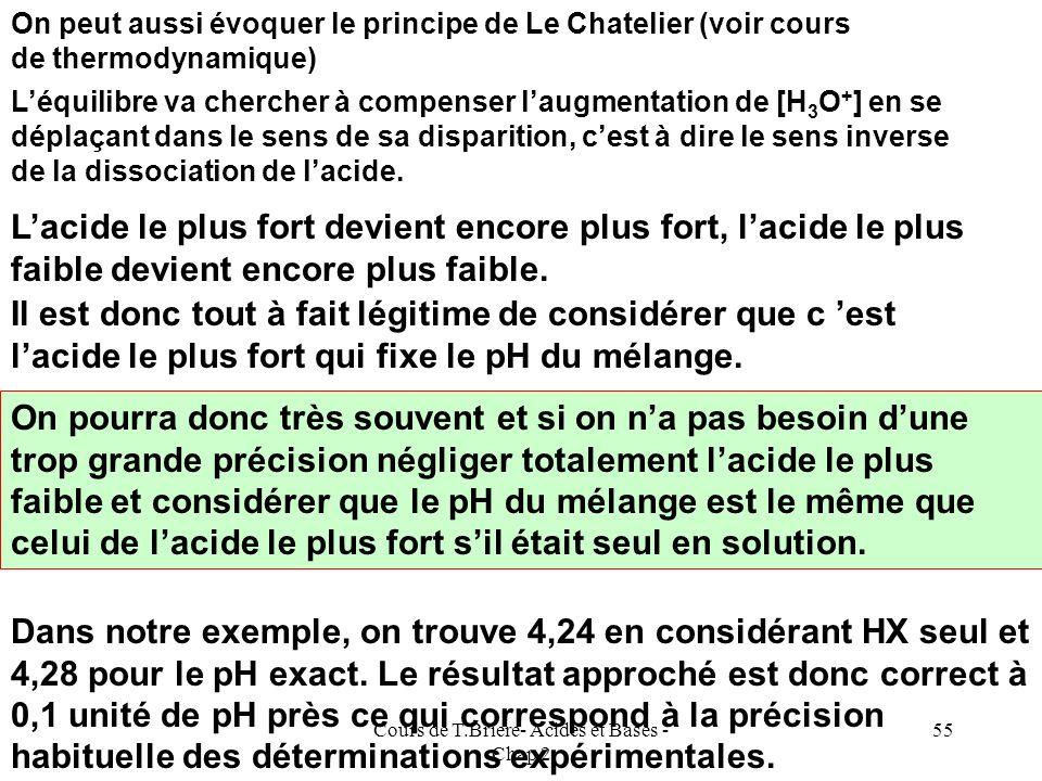 Cours de T.Briere- Acides et Bases - Chap 2 54 On peut expliquer laugmentation dionisation de lacide le plus fort par leffet de dilution (loi dOstwald