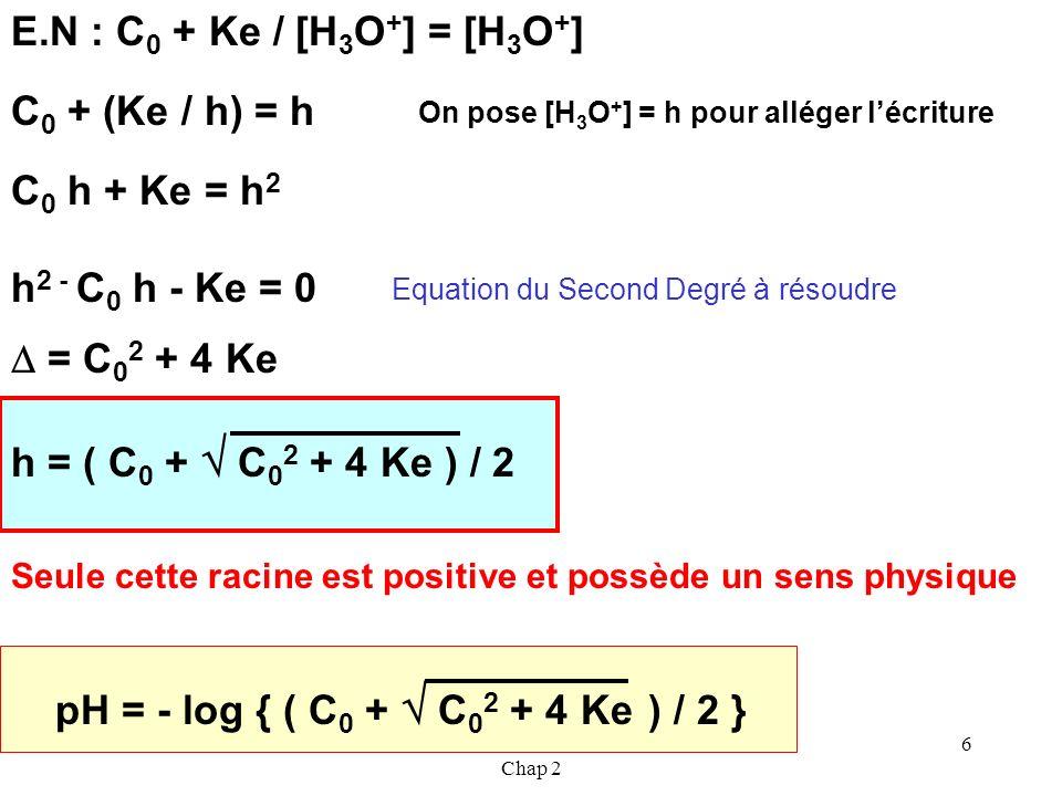 Cours de T.Briere- Acides et Bases - Chap 2 5 HX + H 2 O X - + H 3 O + Réaction TOTALE 1) Résolution exacte du problème Espèces (autres que H 2 O) pré