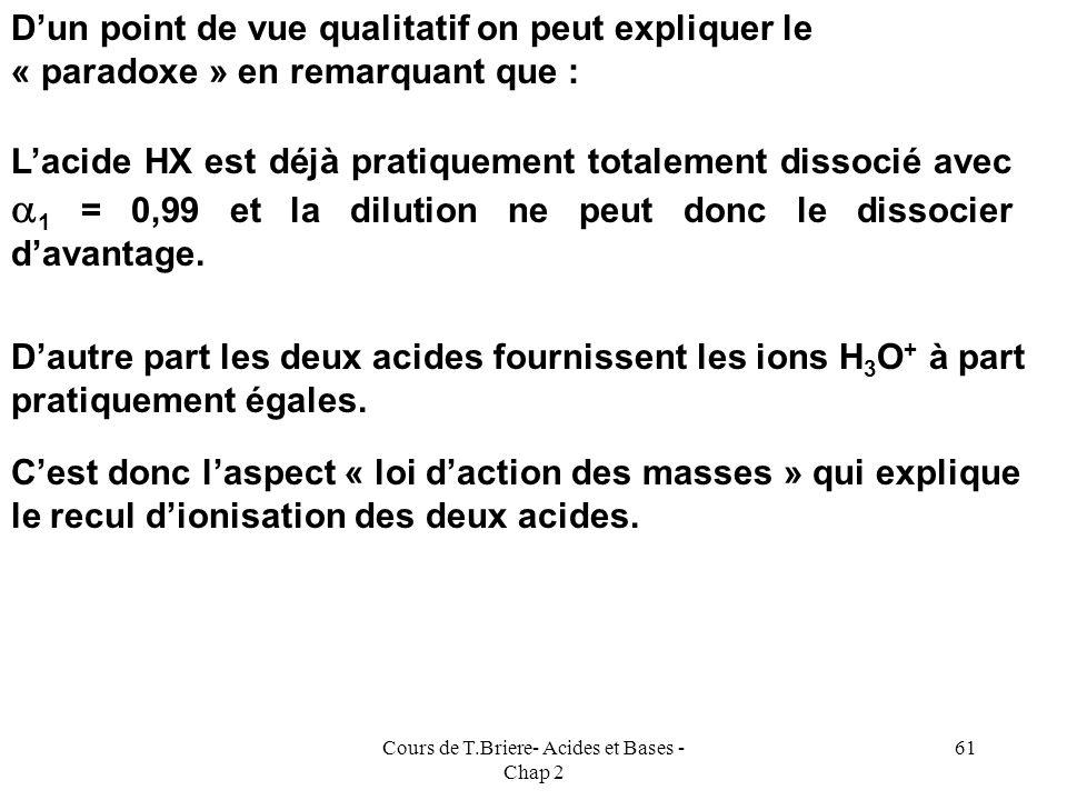 Cours de T.Briere- Acides et Bases - Chap 2 60 HX + H 2 O = X - + H 3 O + Pour 1 mole de X - ou de Y - ou de OH - formée il se forme simultanément 1 m